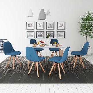 vidaXL 7 dalių valgomojo stalo ir kėdžių komplektas, balta ir mėlyna