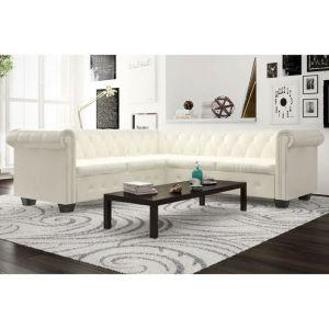 vidaXL Chesterfield penkiavietė sofa, dirbtinė oda, balta