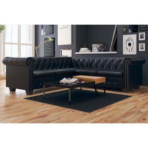 vidaXL Chesterfield penkiavietė sofa, dirbtinė oda, juoda