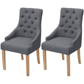 vidaXL Ąžuolinės valgomojo kėdės, 2 vnt., tamsiai pilkas audinys