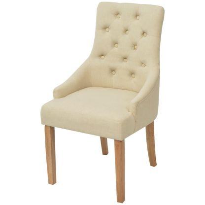 Ąžuolinės valgomojo kėdės, 2 vnt., kreminės spalvos audinys
