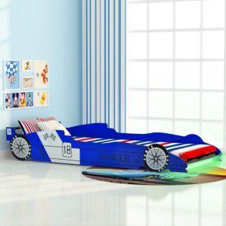 vidaXL Vaikiška LED lova lenktyninė mašina, 90×200 cm, mėlyna