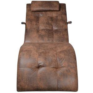 Kušetė su pagalvėle, rudos zomšos imitacijos audinys