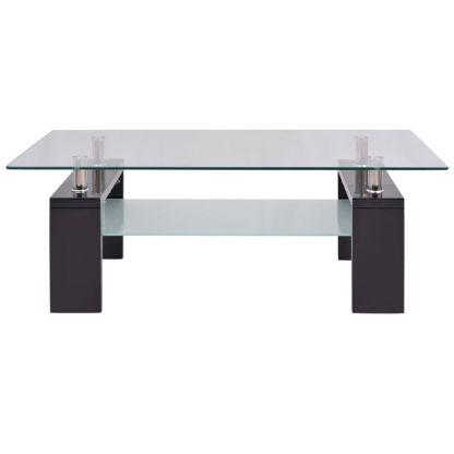 Blizgus kavos staliukas su apatine lentyna, 110x60x40cm, juodas