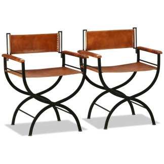 vidaXL Sulankstoma kėdė, 2vnt., tikra oda, 59x48x77cm, juoda ir ruda