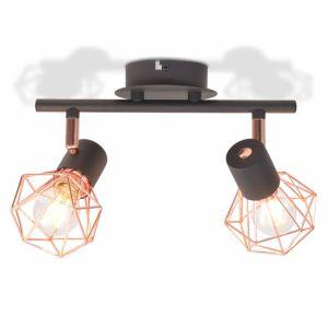 vidaXL Lubinis šviestuvas su 2 gaubtuvais, E14, juodas ir vario sp.