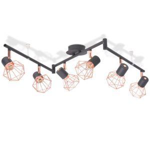 Lubinis šviestuvas su 6 gaubtuvais, E14, juodas ir vario sp.