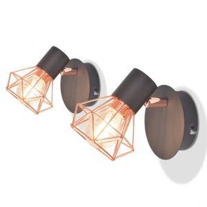 vidaXL Sieninis šviestuvas su 2 LED filament. lemputėmis, 2vnt., 8W