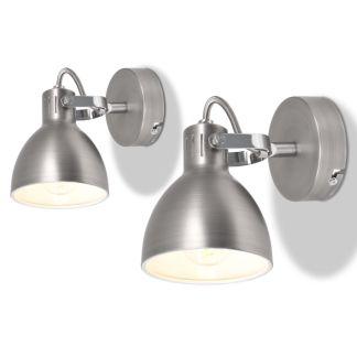 vidaXL Sieniniai šviestuvai, 2 vnt., pilki, 2 E14 lemputėms