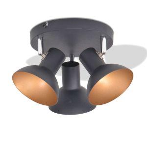 Lubinis šviestuvas su 3 E27 lemputėmis, juodas ir auksinis