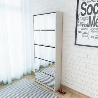 vidaXL Batų dėžė, 5 lygių su veidrodžiais, balta, 63x17x169,5cm