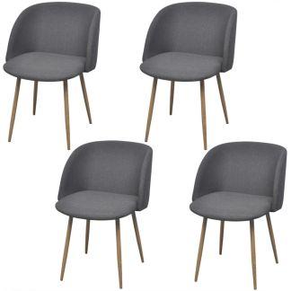 vidaXL Valgomojo kėdės, 4 vnt., audinys, tamsiai pilkos