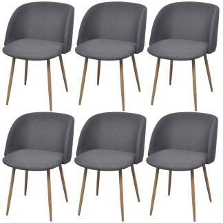 vidaXL Valgomojo kėdės, 6 vnt., audinys, tamsiai pilkos