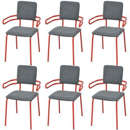 vidaXL Valgomojo kėdės/krėslai, 6 vnt., raudona/pilka