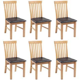 vidaXL Valgomojo kėdės, 6vnt., ąžuolo medienos masyv. ir dirbtinė oda