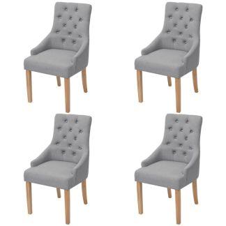 vidaXL Ąžuolinės valgomojo kėdės, 4 vnt., šviesiai pilkas audinys