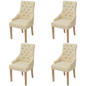vidaXL Ąžuolinės valgomojo kėdės, 4 vnt., kreminės spalvos audinys