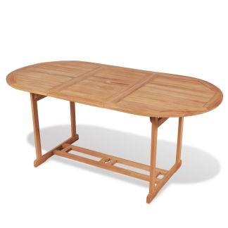 vidaXL Lauko valgomojo stalas, 180x90x75cm, tikmedis