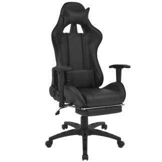 vidaXL Atlošiama biuro/žaidimų kėdė su atrama kojoms, juoda
