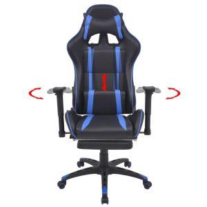 Atlošiama biuro/žaidimų kėdė su atrama kojoms, mėlyna
