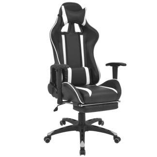 vidaXL Atlošiama biuro/žaidimų kėdė su atrama kojoms, baltos spalvos