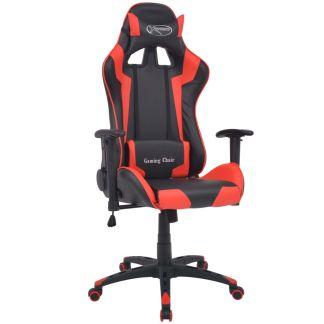 vidaXL Atlošiama biuro/žaidimų kėdė, dirbtinė oda, raudona