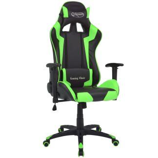 vidaXL Atlošiama biuro/žaidimų kėdė, dirbtinė oda, žalia