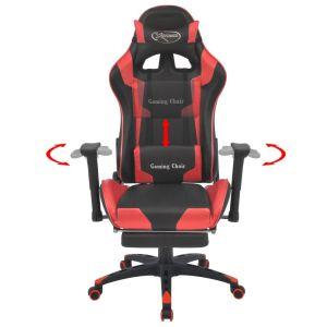 Atlošiama biuro/žaidimų kėdė su atrama kojoms, raudona
