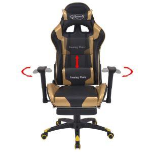 Atlošiama biuro/žaidimų kėdė su atrama kojoms, auksinės spalvos