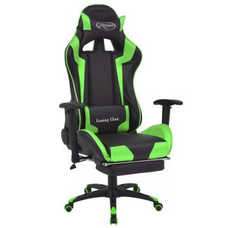 vidaXL Atlošiama biuro/žaidimų kėdė su atrama kojoms, žalia