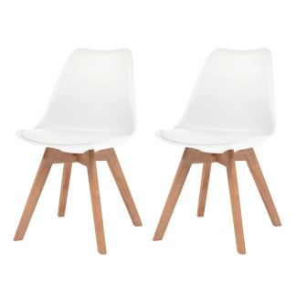 vidaXL Valgomojo kėdės, 2vnt., dirbtinė oda, masyvi mediena, balta
