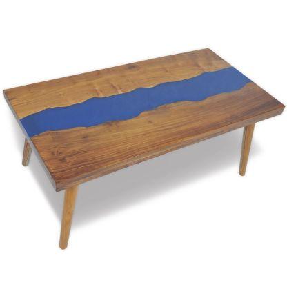 vidaXL Kavos staliukas, tikmedis ir derva, 100x50x40cm
