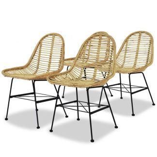 vidaXL Valgomojo kėdės, 4vnt., natūralus ratanas