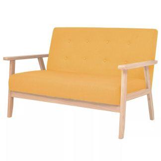 vidaXL Dvivietė sofa, audinys, geltona