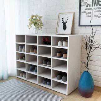 vidaXL Batų spintelė, medžio drožlių plokštė, 92x33x67,5cm, balta