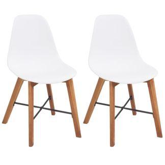 vidaXL Valgomojo kėdės, 2vnt., baltos
