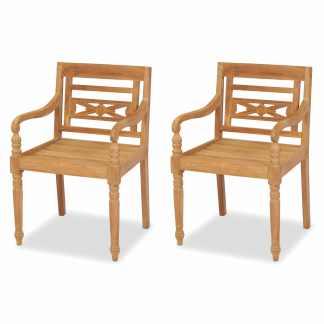 vidaXL Batavia kėdės, 2 vnt., tikmedžio mediena