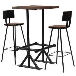 vidaXL Baro baldų komplektas, 3d., masyvi perdirbta mediena