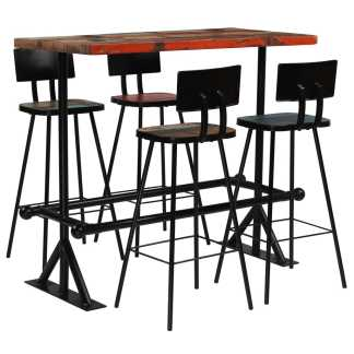 vidaXL Baro baldų komplektas, 5d., perdirbta mediena, įvairiaspalvis