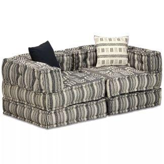 vidaXL Dvivietė modulinė sofa lova, audinys, dryžuota