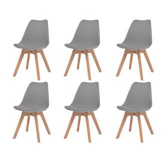 vidaXL Valgomojo kėdės, 6vnt., dirbt. oda, masyvi mediena, pilkos sp.