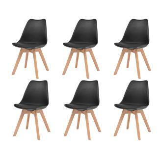 vidaXL Valgomojo kėdės, 6vnt., dirbt. oda, masyvi mediena, juodos sp.