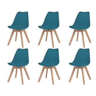 vidaXL Valgomojo kėdės, 6vnt., dirbt. oda, masyvi mediena, turkio sp.