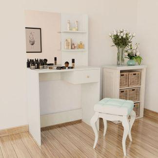 vidaXL Kosmetinis staliukas, med. drožlių plokštė, 75x40x141 baltas