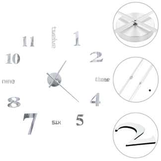 vidaXL Sieninis laikrodis, sidabr. sp., 100cm, mod. diz., 3D, XXL