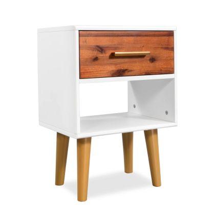 vidaXL Naktinis staliukas, masyvi akacijos mediena, 40x30x45cm
