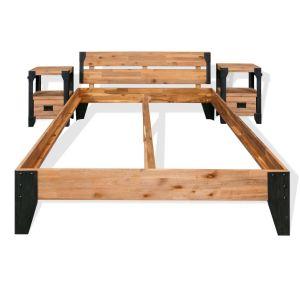Lovos rėmas su 2 staliukai, akacijos med., plienas, 180x200cm
