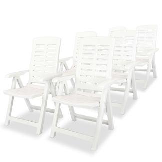 vidaXL Atlošiamos sodo kėdės, 6 vnt., plastikas, balta sp.