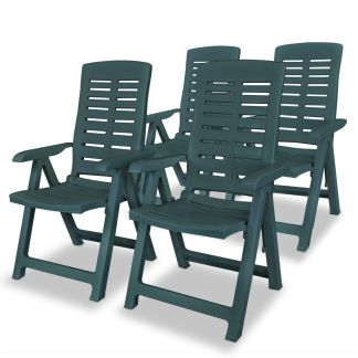 vidaXL Atlošiamos sodo kėdės, 4 vnt., plastikas, žalia sp.
