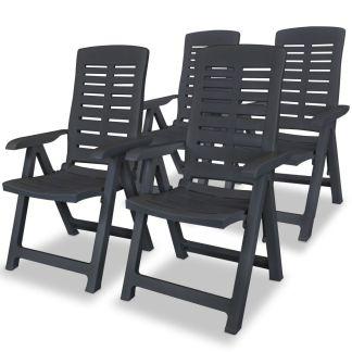 vidaXL Atlošiamos sodo kėdės, 4 vnt., plastikas, pilka sp.